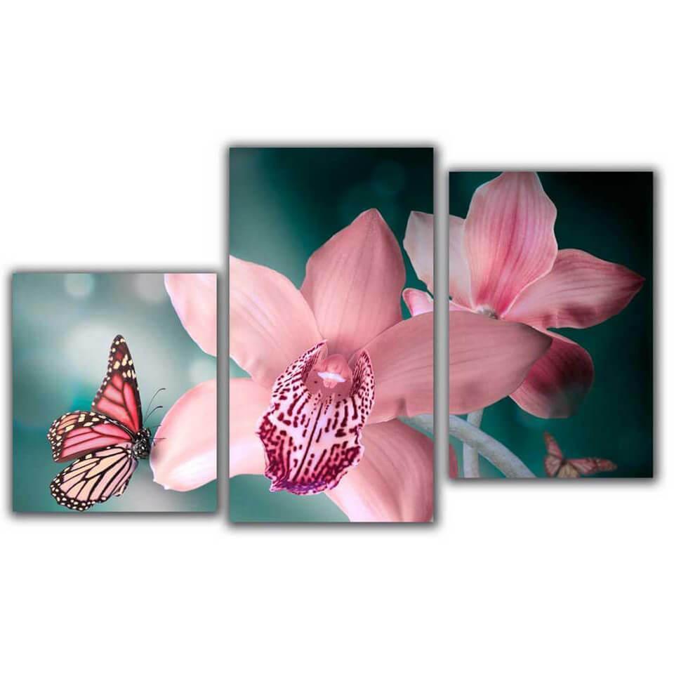 Мини модульная картина Бабочка на цветах Toplight 55х94см TL-MM1037