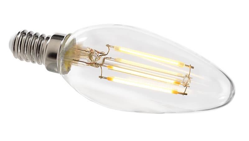 Лампа накаливания e14 4w 2700k груша прозрачная 180073