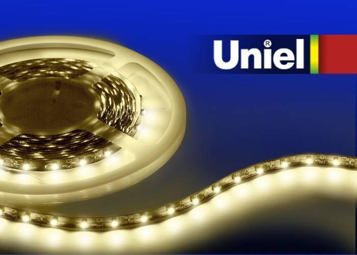 Светодиодная лента Uniel (04901) 3M теплый белый 14.4W ULS-3528-60LED/m-8mm-IP20-DC12V-4,8W/m-3M-WW