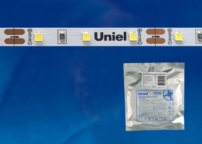Светодиодная лента Uniel (UL-00000879) 5М теплый белый ULS-2835-120LED/m-8mm-IP20-DC12V-9,6W/m-5M-WW